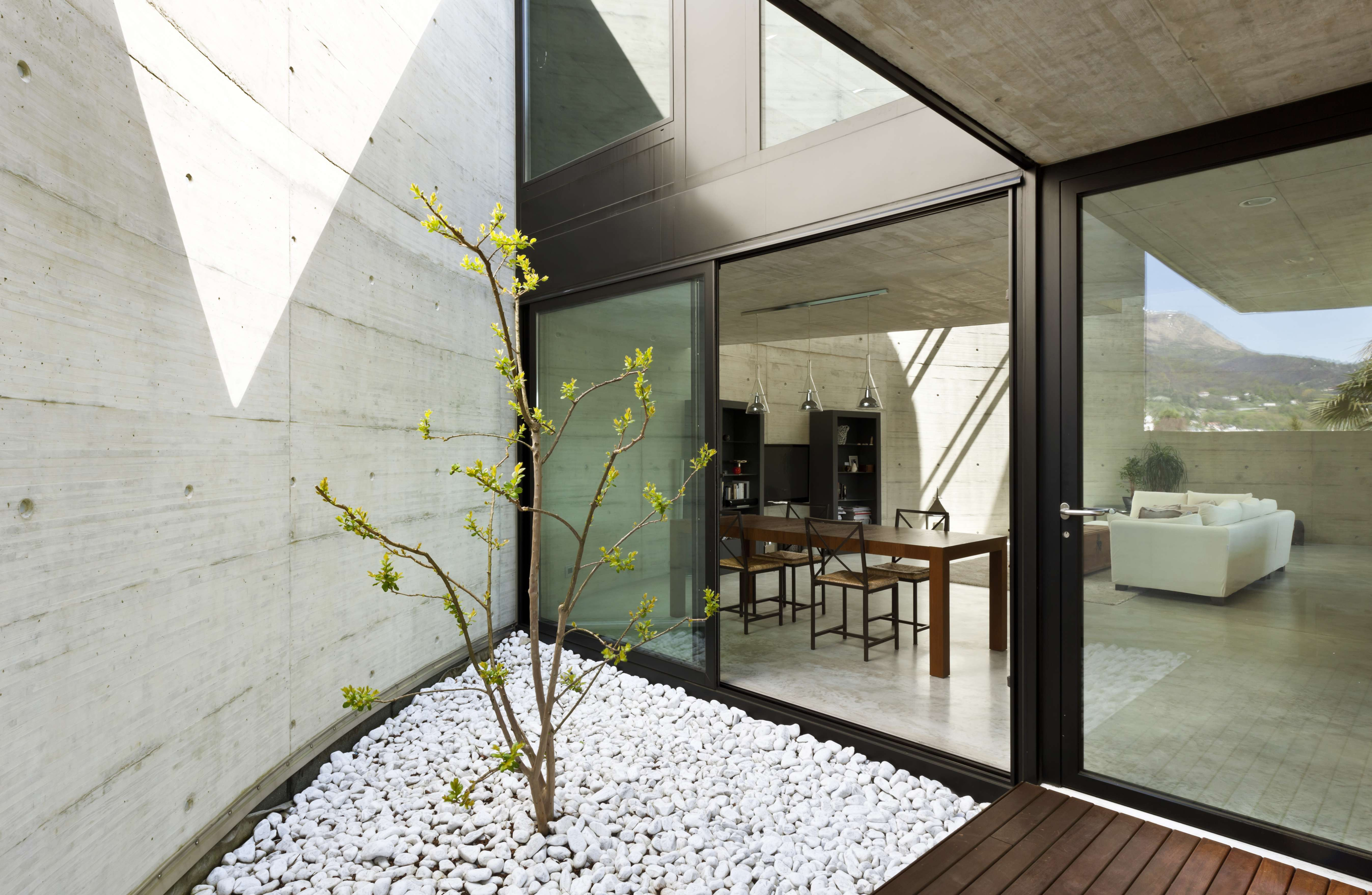 beautiful modern house in cement dining room view from the